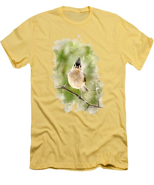 Tufted Titmouse - Watercolor Art Men's T-Shirt (Slim Fit) by Christina Rollo