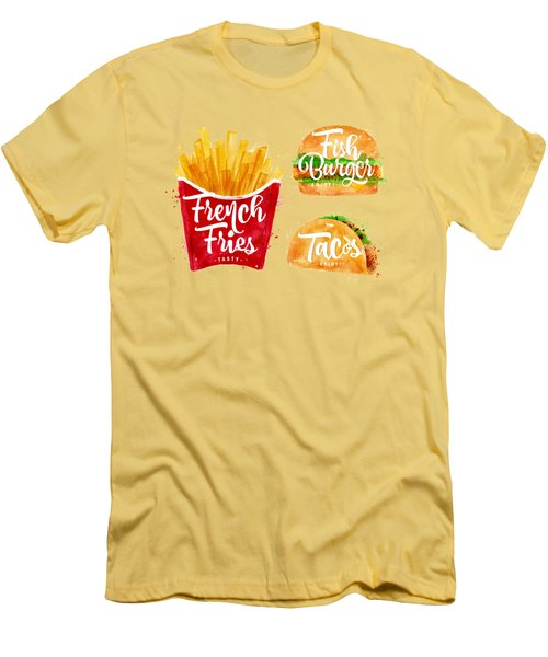 Vintage French Fries Men's T-Shirt (Slim Fit) by Aloke Design