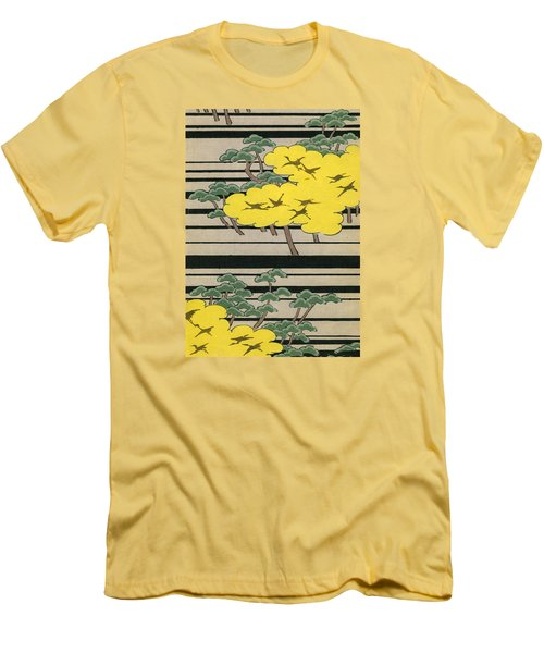 Vintage Japanese Illustration Of An Abstract Forest Landscape With Flying Cranes Men's T-Shirt (Slim Fit) by Japanese School