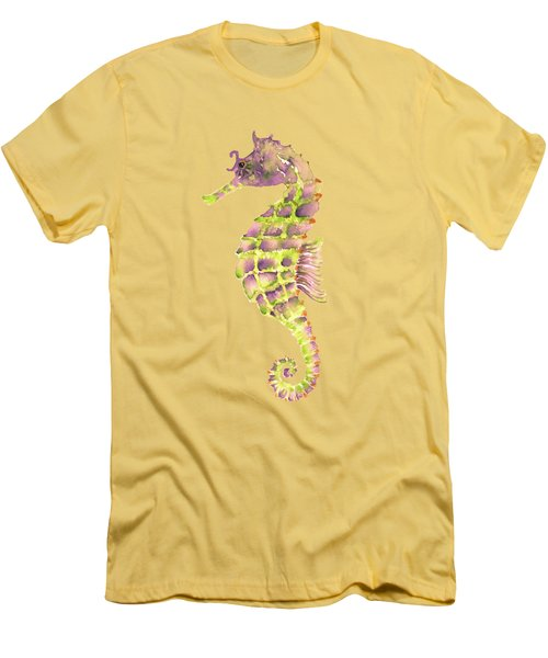 Violet Green Seahorse - Square Men's T-Shirt (Slim Fit) by Amy Kirkpatrick