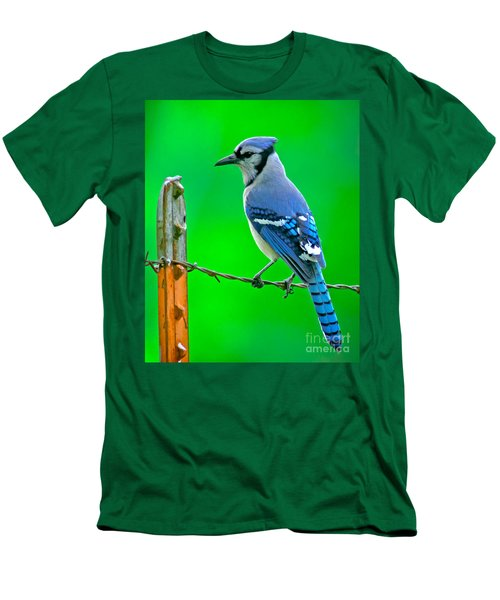 Blue Jay On The Fence Men's T-Shirt (Slim Fit) by Robert Frederick