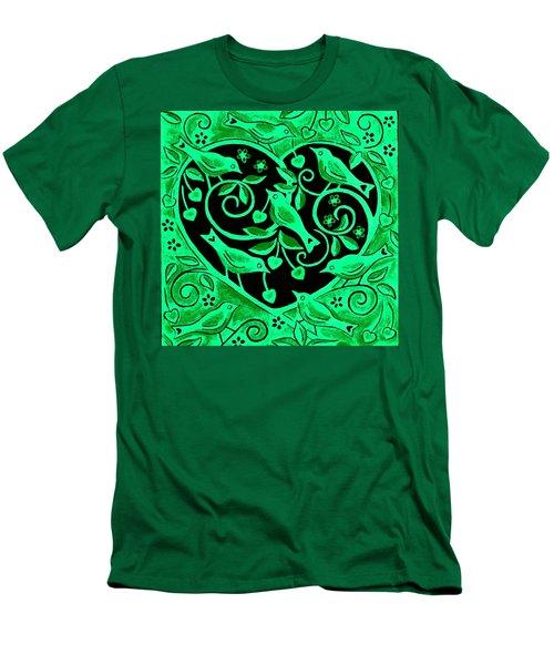 Love Birds, 2012 Woodcut Men's T-Shirt (Slim Fit) by Nat Morley