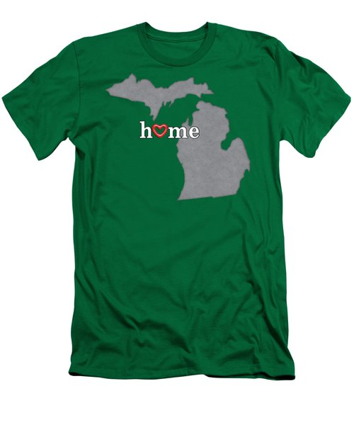 State Map Outline Michigan With Heart In Home Men's T-Shirt (Slim Fit) by Elaine Plesser