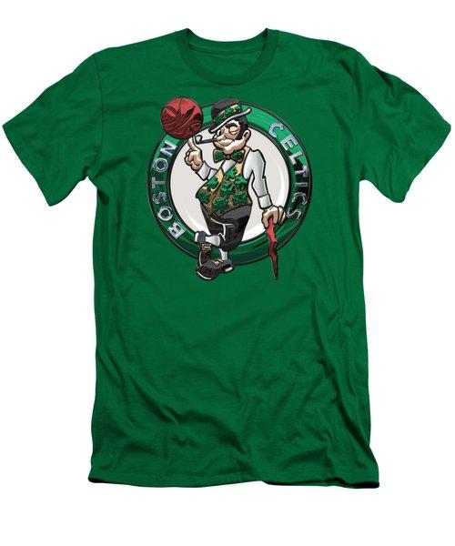 Boston Celtics - 3 D Badge Over Flag Men's T-Shirt (Slim Fit) by Serge Averbukh