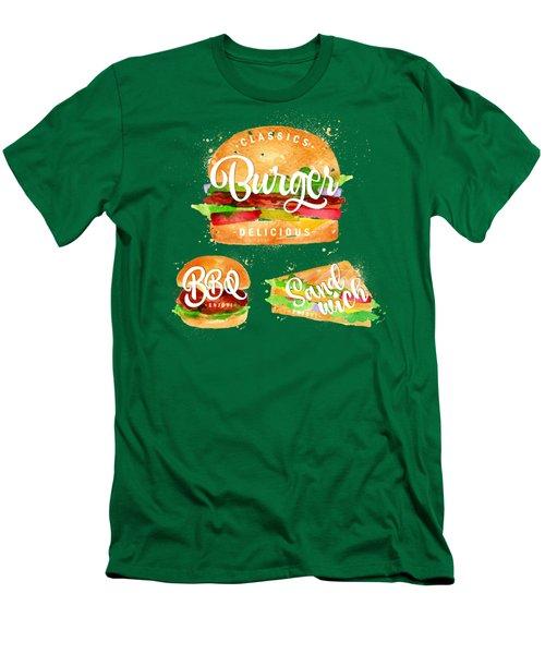Vintage Burger Men's T-Shirt (Slim Fit) by Aloke Design