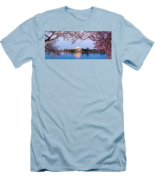 Cherry Blossom Tree With A Memorial Men's T-Shirt (Slim Fit) by Panoramic Images