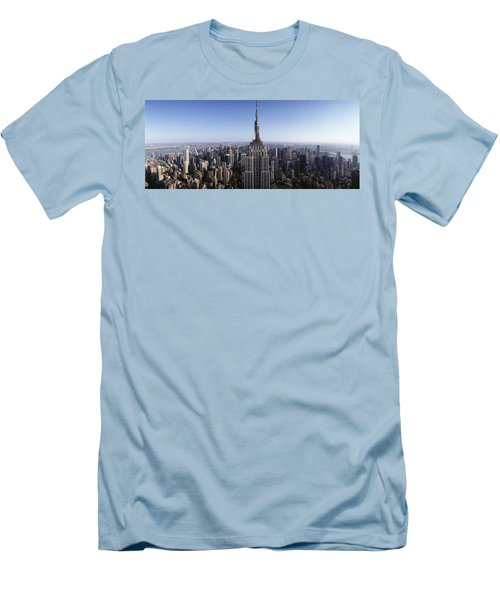 Aerial View Of A Cityscape, Empire Men's T-Shirt (Slim Fit) by Panoramic Images