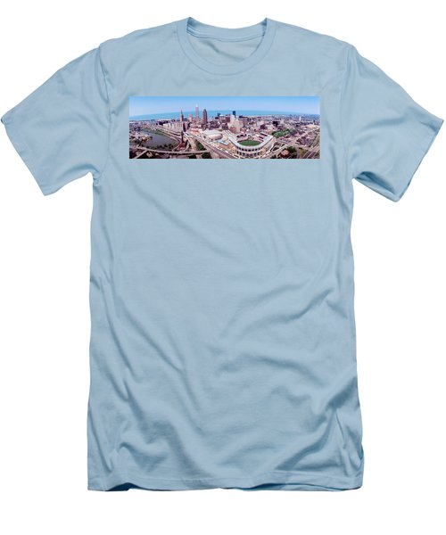 Aerial View Of Jacobs Field, Cleveland Men's T-Shirt (Slim Fit) by Panoramic Images