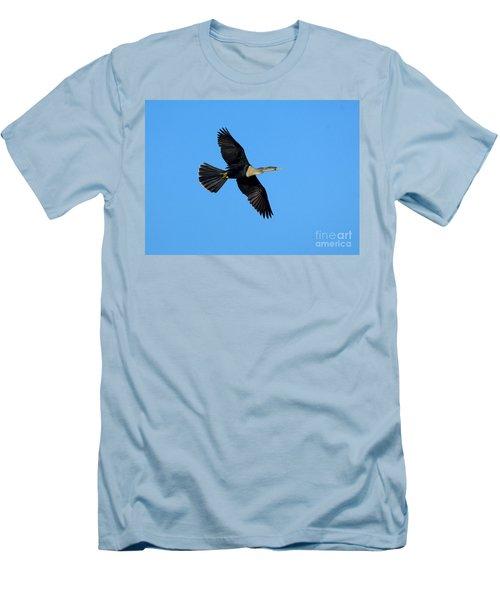 Anhinga Female Flying Men's T-Shirt (Slim Fit) by Anthony Mercieca