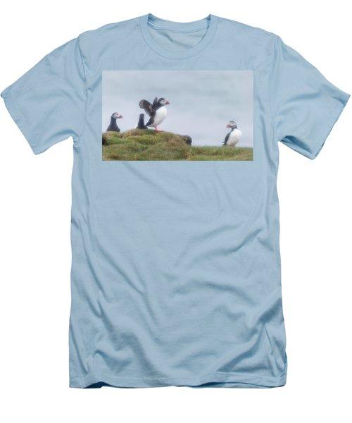 Atlantic Puffins Fratercula Arctica Men's T-Shirt (Slim Fit) by Panoramic Images