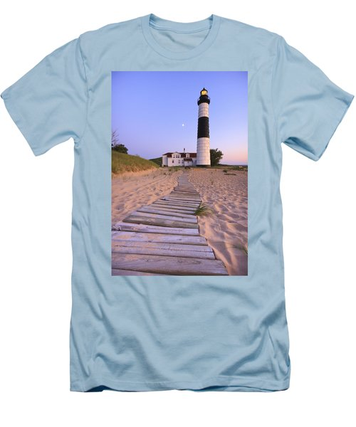 Big Sable Point Lighthouse Men's T-Shirt (Slim Fit) by Adam Romanowicz