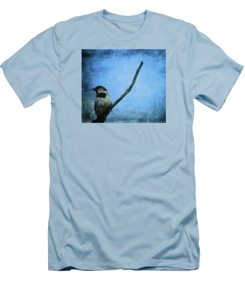 Sparrow On Blue Men's T-Shirt (Slim Fit) by Dan Sproul