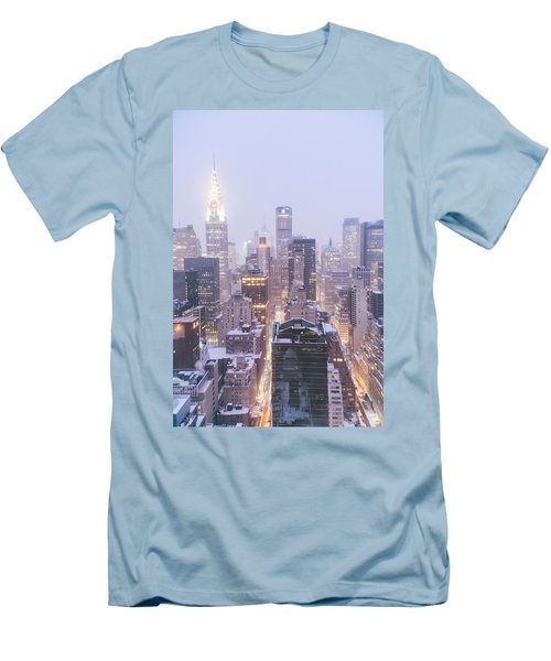 Chrysler Building And Skyscrapers Covered In Snow - New York City Men's T-Shirt (Slim Fit) by Vivienne Gucwa