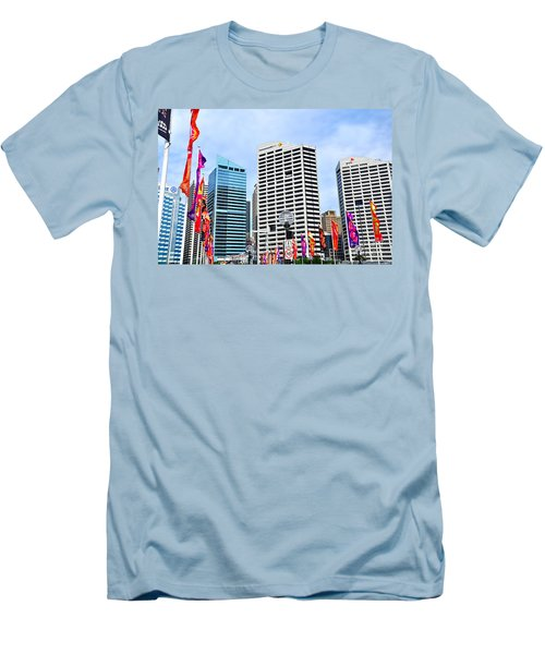 Colorful Flags Lead To City By Kaye Menner Men's T-Shirt (Slim Fit) by Kaye Menner