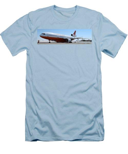 Men's T-Shirt (Slim Fit) featuring the photograph Dc-10 Air Tanker At Rapid City by Bill Gabbert