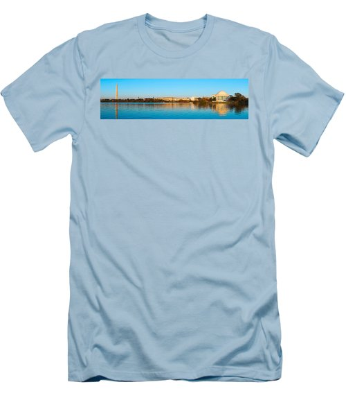 Jefferson Memorial And Washington Men's T-Shirt (Slim Fit) by Panoramic Images