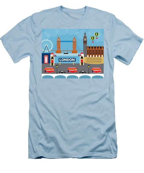 London England Skyline By Loose Petals Men's T-Shirt (Slim Fit) by Karen Young