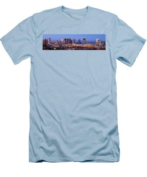 Nashville Skyline At Dusk Panorama Color Men's T-Shirt (Slim Fit) by Jon Holiday