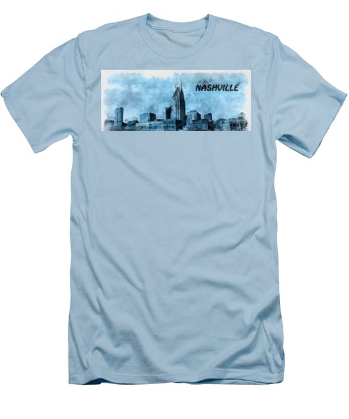 Nashville Tennessee In Blue Men's T-Shirt (Slim Fit) by Dan Sproul