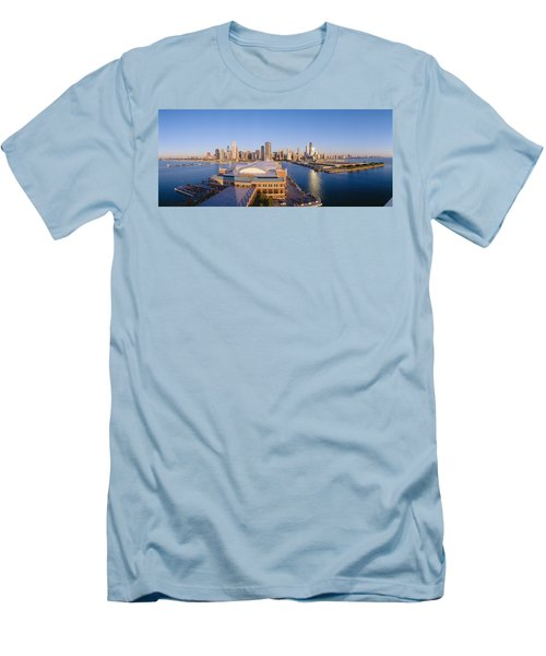 Navy Pier, Chicago, Morning, Illinois Men's T-Shirt (Slim Fit) by Panoramic Images