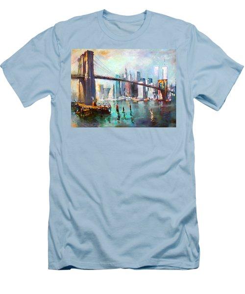 Ny City Brooklyn Bridge II Men's T-Shirt (Slim Fit) by Ylli Haruni