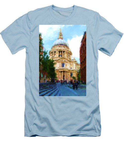 On The Steps Of Saint Pauls Men's T-Shirt (Slim Fit) by Jenny Armitage