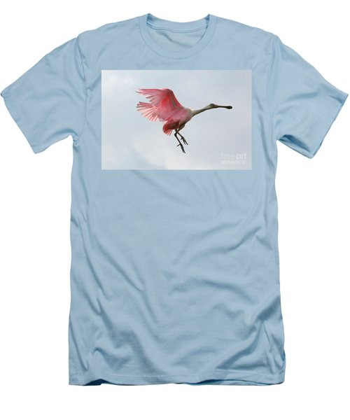 Roseate Spoonbill In Flight Men's T-Shirt (Slim Fit) by Carol Groenen