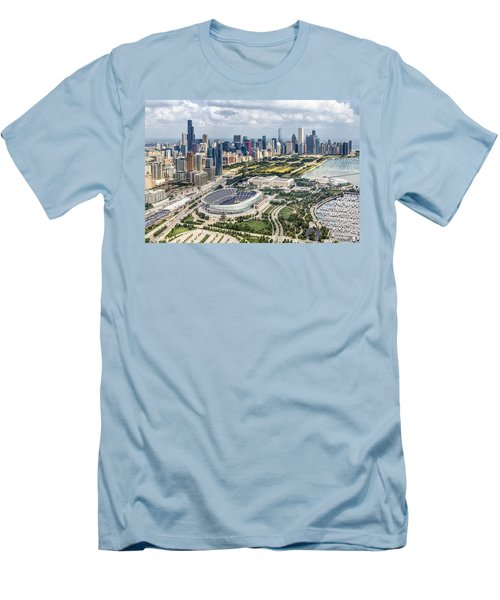 Soldier Field And Chicago Skyline Men's T-Shirt (Slim Fit) by Adam Romanowicz