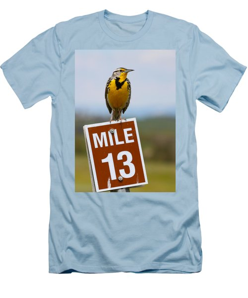 Western Meadowlark On The Mile 13 Sign Men's T-Shirt (Slim Fit) by Karon Melillo DeVega