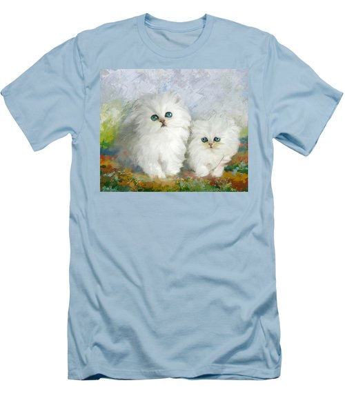 White Persian Kittens  Men's T-Shirt (Slim Fit) by Catf