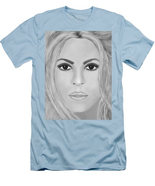 Shakira Black And White Men's T-Shirt (Slim Fit) by Mathieu Lalonde