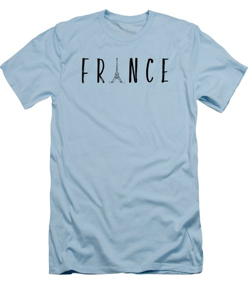 France Typography Panoramic Men's T-Shirt (Slim Fit) by Melanie Viola