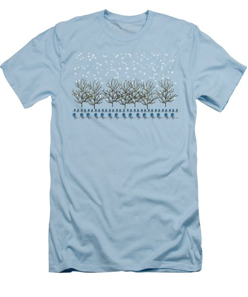 Winter Bluebirds In The Snow Men's T-Shirt (Slim Fit) by Anne Kitzman