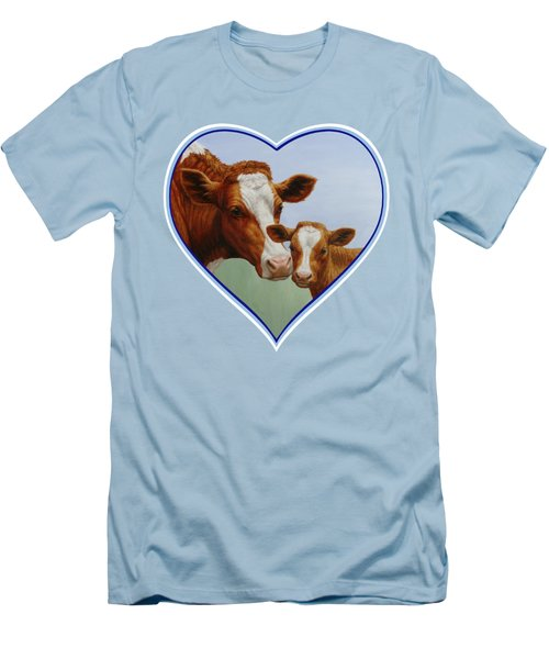 Cow And Calf Blue Heart Men's T-Shirt (Slim Fit) by Crista Forest