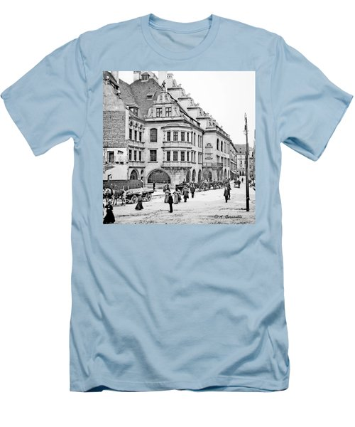 Men's T-Shirt (Slim Fit) featuring the photograph Munich Germany Street Scene 1903 Vintage Photograph by A Gurmankin