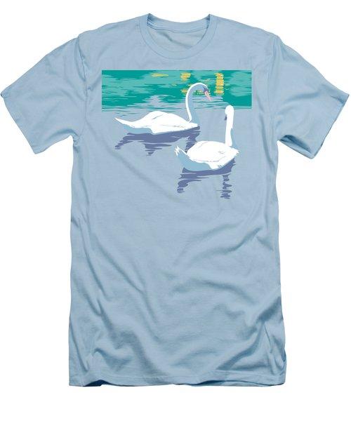 Abstract Swans Bird Lake Pop Art Nouveau Retro 80s 1980s Landscape Stylized Large Painting  Men's T-Shirt (Slim Fit) by Walt Curlee