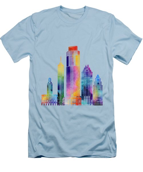 Austin Landmarks Watercolor Poster Men's T-Shirt (Slim Fit) by Pablo Romero