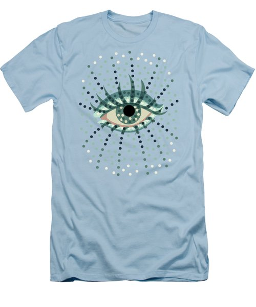 Beautiful Abstract Dotted Blue Eye Men's T-Shirt (Slim Fit) by Boriana Giormova