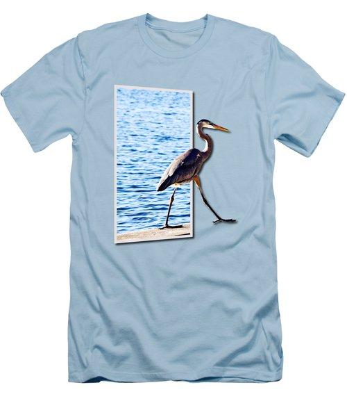 Blue Heron Strutting Out Of Frame Men's T-Shirt (Slim Fit) by Roger Wedegis