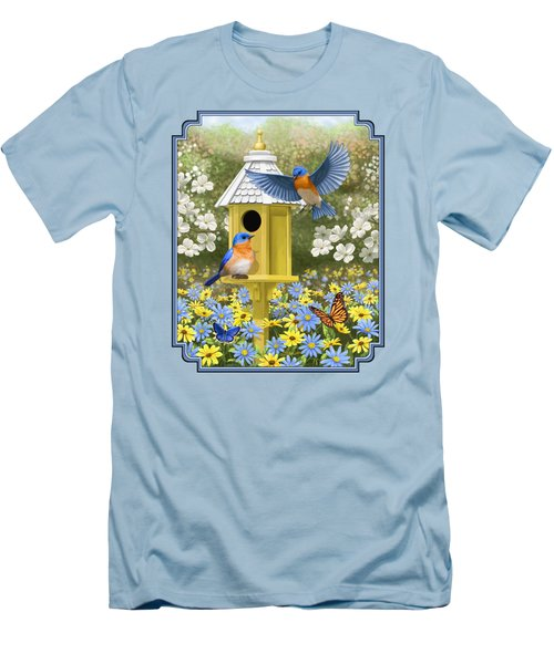 Bluebird Garden Home Men's T-Shirt (Slim Fit) by Crista Forest