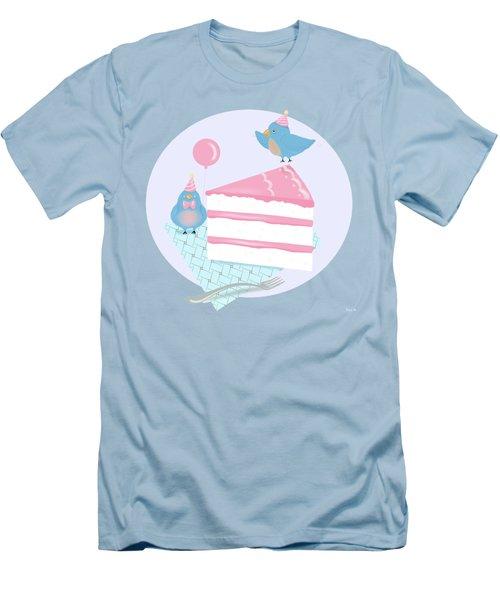 Bluebirds Love Birthday Cake Men's T-Shirt (Slim Fit) by Little Bunny Sunshine