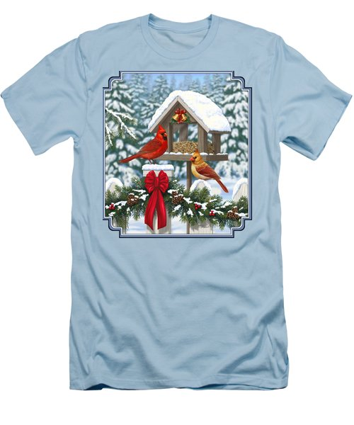 Cardinals Christmas Feast Men's T-Shirt (Slim Fit) by Crista Forest