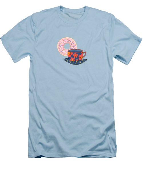 Coffee And Donuts Men's T-Shirt (Slim Fit) by Kathleen Sartoris