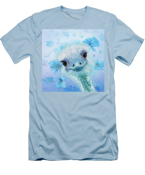 Curious Ostrich Men's T-Shirt (Slim Fit) by Jan Matson
