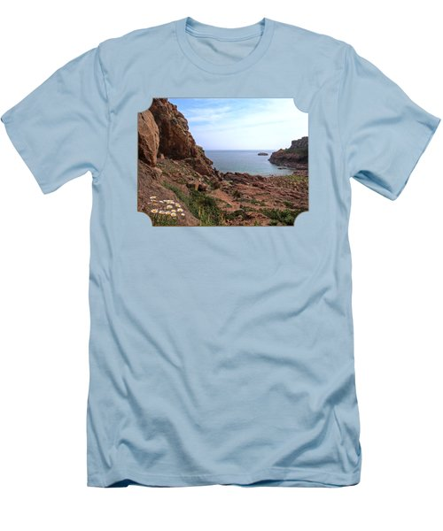 Daisies In The Granite Rocks At Corbiere Men's T-Shirt (Slim Fit) by Gill Billington