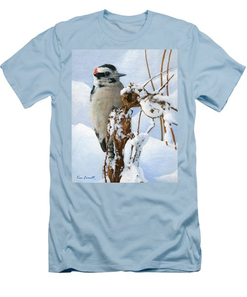 Downy Woodpecker  Men's T-Shirt (Slim Fit) by Ken Everett