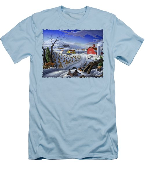 Folk Art Winter Landscape Men's T-Shirt (Slim Fit) by Walt Curlee