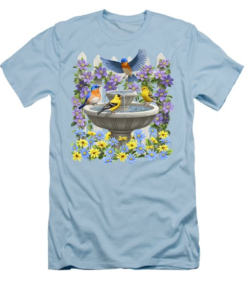 Fountain Festivities - Birds And Birdbath Painting Men's T-Shirt (Slim Fit) by Crista Forest