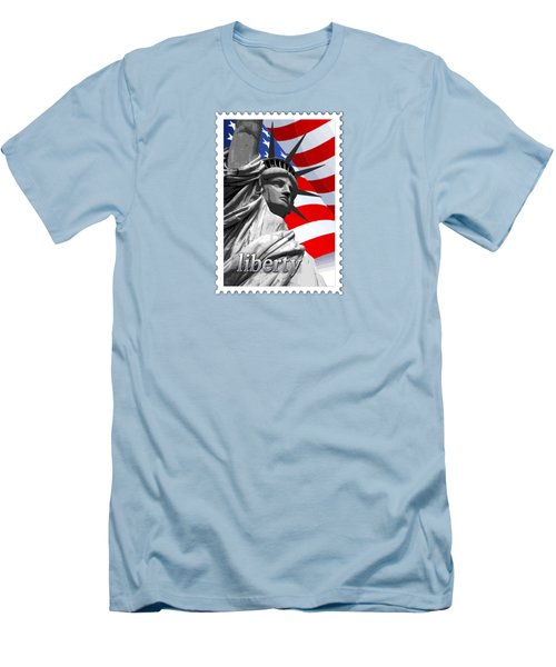 Graphic Statue Of Liberty With American Flag Text Liberty Men's T-Shirt (Slim Fit) by Elaine Plesser
