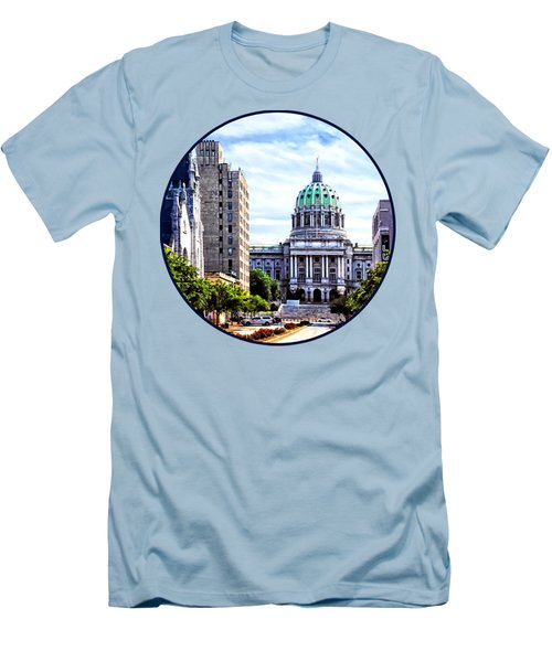 Harrisburg Pa - Capitol Building Seen From State Street Men's T-Shirt (Slim Fit) by Susan Savad